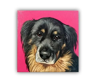 "6x6x0.75"" Custom Dog Portrait / Custom Pet Portrait / Custom Portrait - 1 Pet Close-Up Solid background Original Painting Acrylic on Canvas"