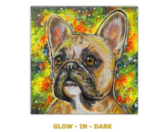 Glow in the Dark!!! Custom Dog Portrait / Custom Pet Portrait - 1 Pets - Galaxy Background (6x6 inch) Original Painting on Canvas Neon Art
