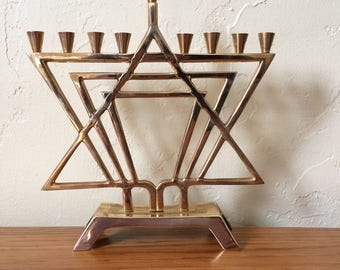 Vintage Polished Brass Menorah, Judaica Chanukah Hanukkah Candle Holder, Modern Contemporary Star Of David