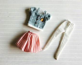 Girlish - Red Stripes Bubble Set for Blythe doll - dress / outfit