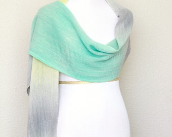 Woven scarf, pashmina wrap, yellow mint green grey extra long scarf with fringe gift for her