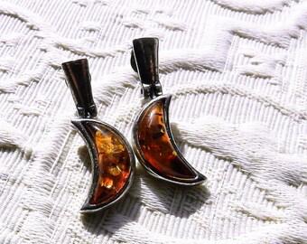 Vintage Amber or Copal Moon Earrings 925 Sterling