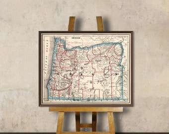 Historical map of Oregon - Old map restored, fine print