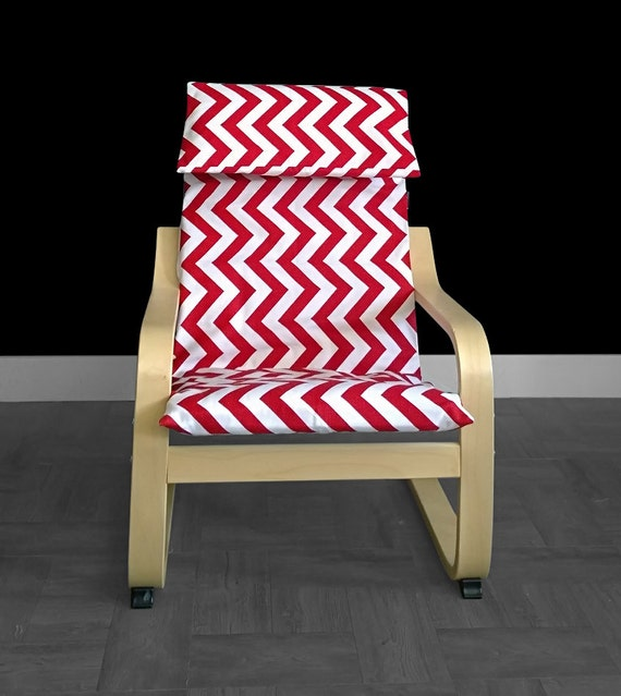 Red zig zag kids ikea poang chair cover red chevron ikea kids - Red poang chair ...
