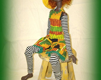 Handmade Doll Clothes for Kaye Wiggs BJD SD 21 inch 54 cm Tobi, African Kente Print Halter Neck Jumper, 6 Pc Outfit by traveller240