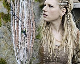 vikings lagertha hair exstension kit braids dreadslocks cosplay  dreads braids clip in extensions
