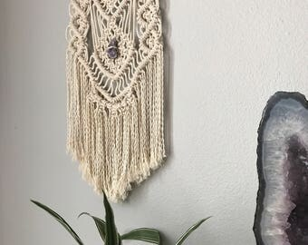Macrame Wall Hanging // Natural Stone Accent, Purple Amethyst Crystal, Boho Home Decor, Wall Art Tapestry, Cotton Wood Textile, Ecru Cream