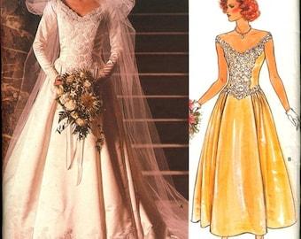 Uncut Vintage 1980s Vogue Bridal Original 1677 Wide Neckline Basque Bodice Full Skirt Bridal Dress Wedding Gown Sewing Pattern B32.5