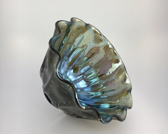 Hand Blown Glass Bowl - Smoke Luster Clamshell Bubble Bowl Form by Jonathan Winfisky
