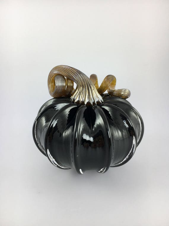 "4"" Glass Pumpkin by Jonathan Winfisky - Opaque Black - Hand Blown Glass"
