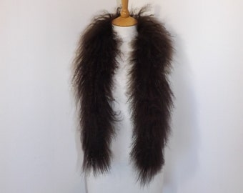 Vintage 1970s real sheepskin curly sheep fur boa scarf wrap stole brown boho sheep skin
