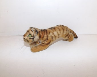 Vintage Steiff mohair tiger cat soft toy collectable stuffed animal with button and chest tag