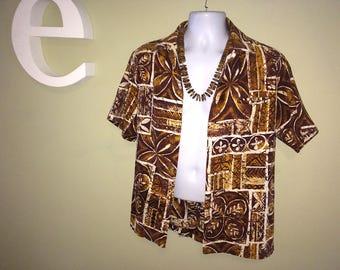 "Men's Vintage 60s Hawaiian Shirt MALIHINI Brown Tapa Cloth Print Barkcloth Tiki Oasis Hukilau Mad Men Polynesian Tribal Size Large 46"" Chest"