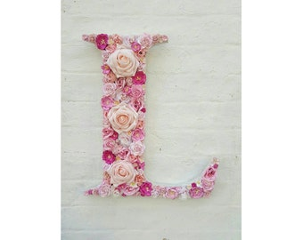 Nursery Letter Flower Letter, Pink Flowers Wall Art, Nursery Initial Monogram, Floral Nursery Decor, Girl's Bedroom, Pink Letter
