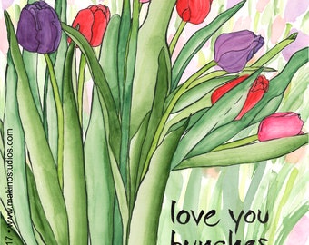 228. tulip love and friendship card - set of any 6 cards