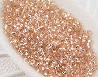 11/0 Japanese Seed Beads_Silver Lined Light Blush_10 grams_Miyuki #23_Lightest Pink_Bridal Colors_Wedding_Embellishment
