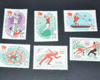 Russian 1976 Olympics 6 mint unused stamps
