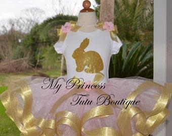 Pink and Gold Tutu Dress, Pink and Gold Ribbon Tutu, Easter Tutu, Easter Tutu dress, Easter Outfit, Pink and Gold Girls Dress, Easter Tutus