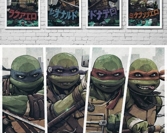 BROTHERS - Teenage Mutant Ninja Turtles - Raphael - Leonardo - Donatello - Michelangelo - Comic Book Super Heroes - TMNT - Art Poster Set