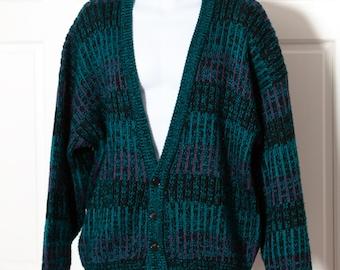 Vintage 80s Men's Knit Sweater Cardigan - SATURDAYS - L