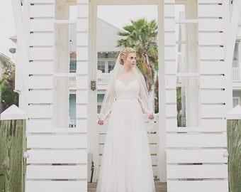 Lace Veil, Ivory Lace Fingertip Veil, Lace Wedding Veil, Fingertip Wedding Veil, Bridal Veil, Fingertip Veil - Scallop Lace Bridal Veil
