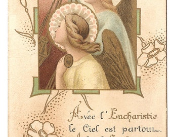Art Nouveau Angels with Communion Chalice Antique French Holy Prayer Card, Goldprint, Christian Catholic, Eucharist, Blessed Sacrament