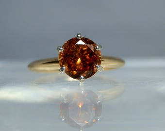 Vintage 14k Gold Madura Citrine Quartz Ring Size 6 Solitaire Ring Deep Color and Great Clarity Gemstone DanPickedMinerals