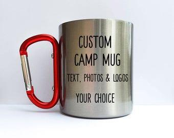 Stainless Steel Camp Mug, Custom Camp mug, Hiking mug, backpacking mug, camping gear drink cup, climbers gift, working red clip handle