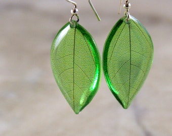 Green Leaf Resin Earring