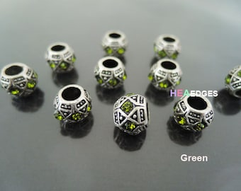 Spacer Beads - 4pcs Antique Silver with Green or Blue Bead Spacer Round Jewerly Spacers Beads with Large Hole ( Inside 5mm Diameter )