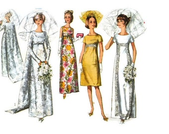 1960s SIMPLICITY 6352 Women's empire line vintage wedding dress bridal prom DIY regency inspired Paper Pattern 60s Bust 34