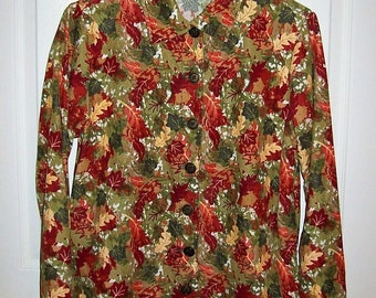 Vintage Ladies Multi Color Corduroy Blouse by Breckenridge Small Only 8 USD