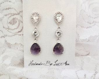 Amethyst earrings, Purple earrings, Cubic zirconias, Sterling silver posts, Purple wedding earrings,February birthstone,Bridesmaids earrings