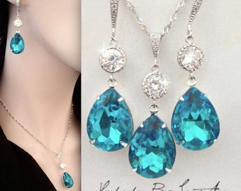 Teal jewelry set, Swarovski crystal jewelry set, Bridal jewelry set,Something blue,Sterling wires and chain,Crystal jewelry set,SOPHIA