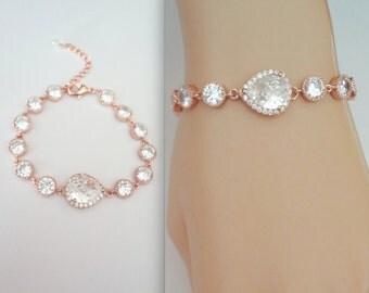 Rose gold bracelet, Rose gold cubic zirconia Bracelet, Brides bracelet, Rose gold tennis bracelet, Rose gold wedding bracelet, For a bride