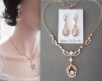 Rose gold pearl set, Swarovski pearl jewelry set, Rose gold jewelry set, Rose gold wedding jewelry, Bridal jewelry set. Rose gold wedding