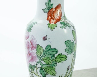 Vintage, Objects D Art Macau, Large, Hand Painted Pottery Vase