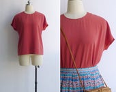 Vintage 80's Terracotta Red Retro Slant Sleeve Blouse S M L