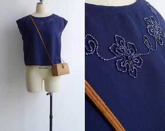Vintage 80's Sparkle Soutache Midnight Blue Crop Blouse S or M