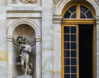 Versailles Photo, Architecture Print, Paris Decor, Travel Art, Window Photograph, French Architecture, Photos Of France, Marble Statue Photo