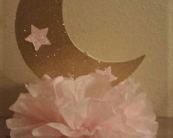 Twinkle Twinkle little star moon pink gold Glitter Birthday party or Baby shower Table Centerpiece other Colors available