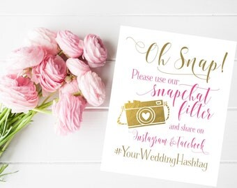 Wedding Sign | Social Media Share for Snapchat Instagram and Facebook | Snapchat Filter Wedding Sign | DIY PRINTABLE