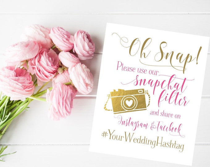 Wedding Sign | Social Media Share for Snapchat Instagram and Facebook | Snapchat Filter Wedding Sign | DIY PRINTABLE