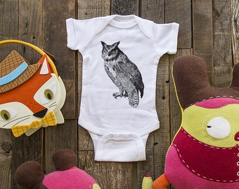 owl 1 - graphic printed on Infant Baby One-piece, Infant Tee, Toddler, Youth T-Shirts - Many sizes