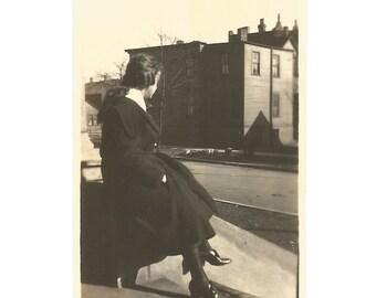 "Vintage Snapshot ""My World"" Urban Neighborhood Young Girl City Street 1910's Found Photo Social Realism Architecture Shadows Light"