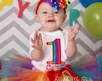 Rainbow Birthday Tutu Outfit-Rainbow Stripes Birthday Outfit-Rainbow Party Outfit-First Birthday Rainbow Tutu Set *Bow NOT Included*