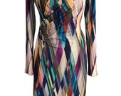 Wrap Winter Jersey Dress, Plus Size Dress, Long Sleeves Dress, Wrap Dress, Printed Dress, V Neck Dress, Designer Dress, Dress with Sleeves
