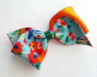 Spring summer floral hair bow--cute loopy tropical hair bows for baby toddler girls- EASTER