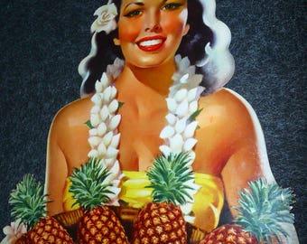 Libbys Pineapple Hawaiian Islands Hawaii Hula Girl Supermarket Stand Up Cardboard Display Pin Up Tropical Tiki Advertising 1940s Ephemera