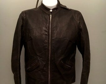 60s Brooks Leather Cafe Racer Gold Label dark brown Vintage Motorcycle Jacket Chest 38 Talon Zippers Brooks Label Snap